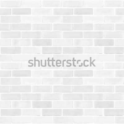 Fototapet Sömlös bakgrund för modell för textur för tegelväggvitgrå färg