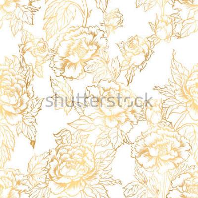 Fototapet Sömlös bakgrund med pionblommor. Vektor illustration imiterar traditionell kinesisk bläckmålning. Grafiskt handritat blommönster. Textilvävdesign. Golden inking.