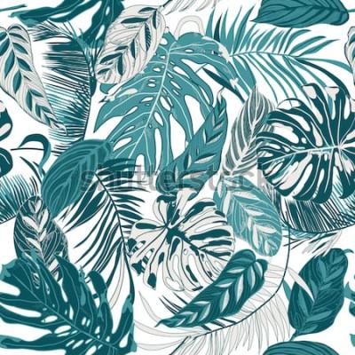 Fototapet sömlös bakgrund med tropiska blad
