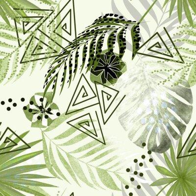 Fototapet Sömlös färgglada tropiska mönster. Gröna palmblad, blommor vit bakgrund.