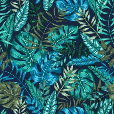 Fototapet sömlös grafisk konstnärlig tropisk natur djungel mönster, modernt elegant bladverk bakgrund allover ut med split blad, philodendron, palmblad, fernormbunksblad