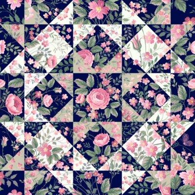 Fototapet sömlös lapptäcke mönster med rosor