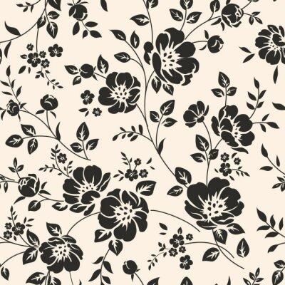 Fototapet Sömlös mönster med blommor.