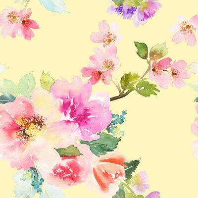 Fototapet Sömlös mönster med blommor akvarell. Gentle färger.