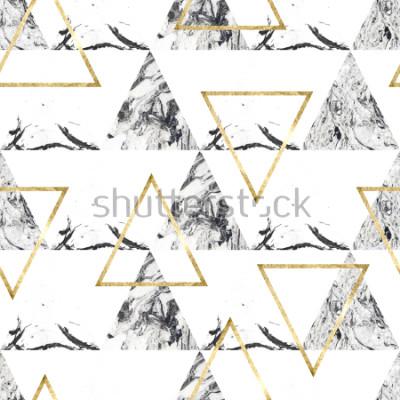 Fototapet Sömlös mönster med tringles och marmor textur