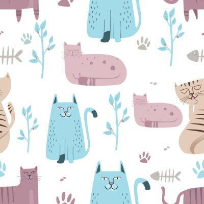 Fototapet Sömlös mönster Söt katt med handtecknad tecknad film