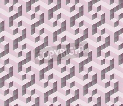 Fototapet sömlös rosa 3d isometrisk kub seamless. Abstrakt digital färgstarka geometriska bakgrund.