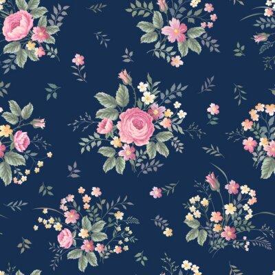 Fototapet sömlösa blommönster med rosa bukett ondark blå bakgrund
