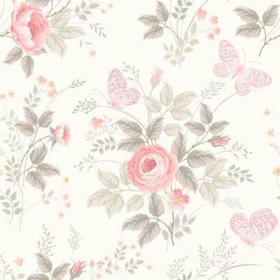 Fototapet sömlösa blommönster med rosor i pastellfärger