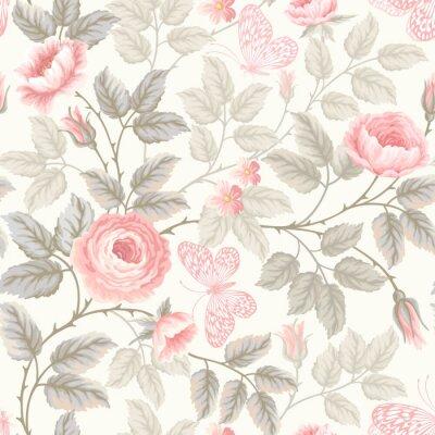 Fototapet sömlösa blommönster med rosor och fjärilar