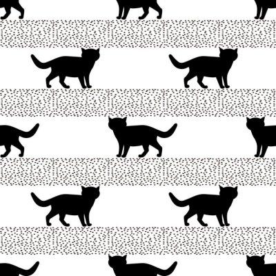 Fototapet Sömlösa mönster med silhuetter av den svarta katten.