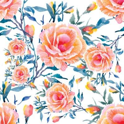 Fototapet Sömlösa mönster med vackra blommor, akvarellillustration
