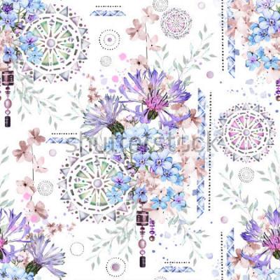 Fototapet sömlöst mönster med akvarellblommor och texturerat ornament - mandala. Abstrakt blommig bakgrund. Tegel med äng vild blomma och geometrisk illustration. Kornblommor, jag-inte