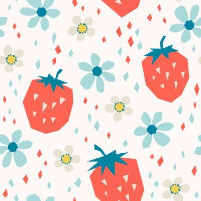 Fototapet sömlöst mönster med jordgubbar och blommor