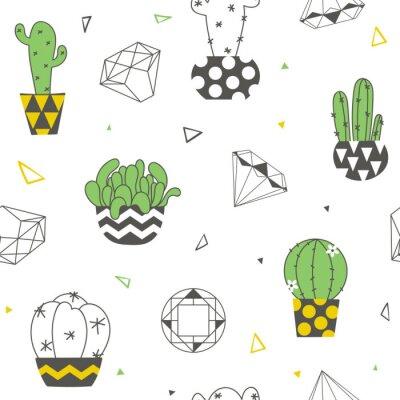 Fototapet Sömlöst mönster med roliga kaktusar