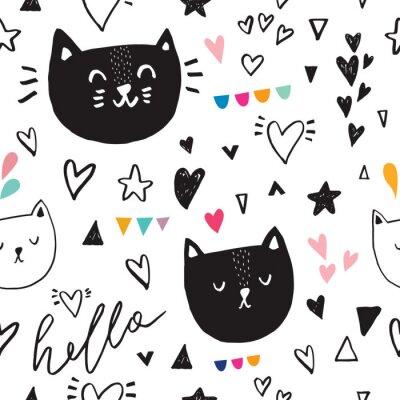 Fototapet Sömlöst mönster med svart söt kattunge