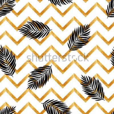 Fototapet Sömlöst mönster med svarta grenar
