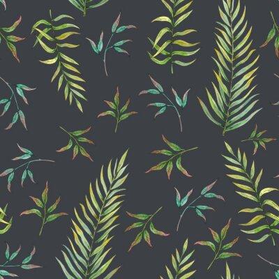 Fototapet sömlöst mönster med tropiska blad på en mörk bakgrund
