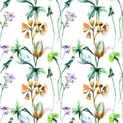 Fototapet Sömlöst mönster med ursprungliga sommarblommor