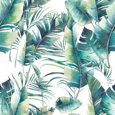 Fototapet Sommar palm och banan lämnar sömlöst mönster. Akvarell konsistens med gröna grenar på vit bakgrund. Handgjord tropisk tapet design