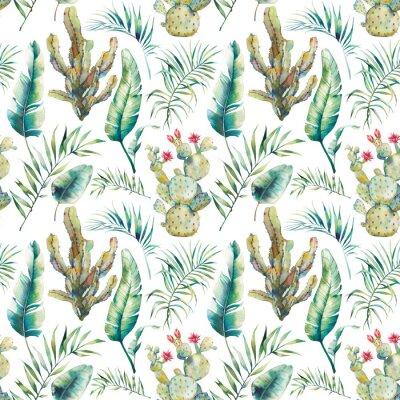 Fototapet Sommar palmträd, kaktus och banan lämnar sömlöst mönster. Akvarellgröna grenar och blommande succulent på vit bakgrund. Exotisk tapet design