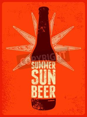 Fototapet Sommar, sol, öl. Typografisk retro grunge öl affisch. Vektor illustration.