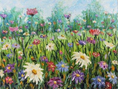 Fototapet Sommar vilda blommor, oljemålning