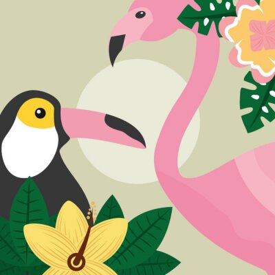 Fototapet sommartid tropiska fåglar toucan och flamingo vektor illustration