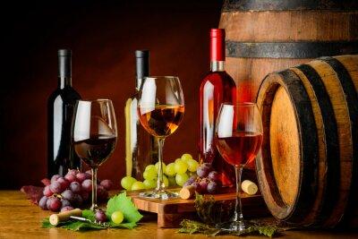 Fototapet sorters vin i flaskor och glas