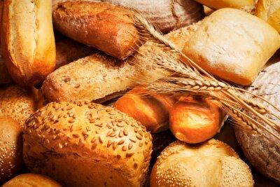 Fototapet sortiment av bröd med vete