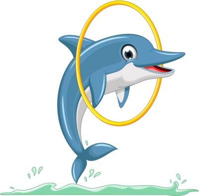 Fototapet söt delfin tecknad hoppning