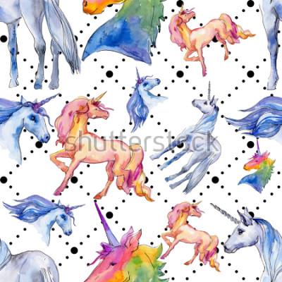 Fototapet Söt enhörningshäst. Fairytale barn söt drom. Rainbow animal horn Sömlös bakgrundsmönster. Tyg-band försöker struktur. Akvareller vilddjur för bakgrund, struktur, omslagsmönster.