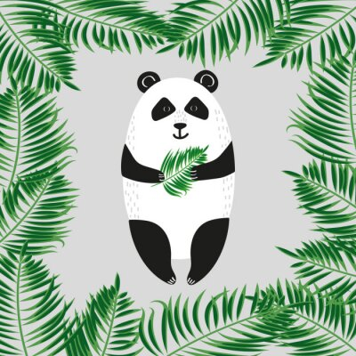 Fototapet Söt panda. Vektor illustration.