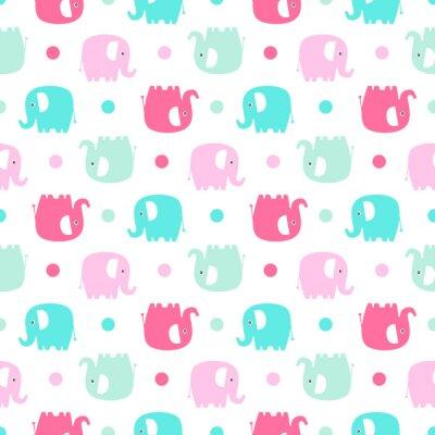 Fototapet Söt platta elefant. Söt bakgrund för spädbarn och barn.
