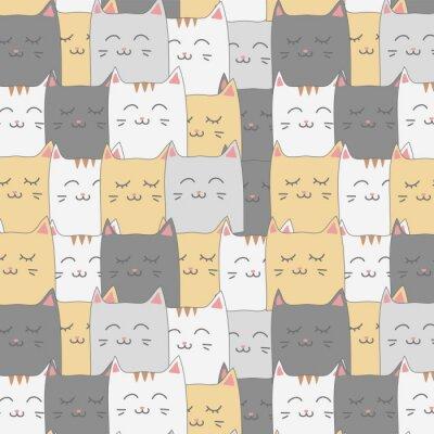 Fototapet Söt söt kattkattunge sömlös mönster bakgrundsbild