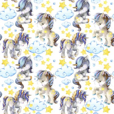 Fototapet söt unicorn akvarell sömlös mönster