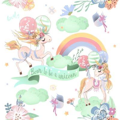 Fototapet Söt unicorns sömlöst mönster. Barnmönster med enhörningar, blommor, ballonger, moln och regnbåge