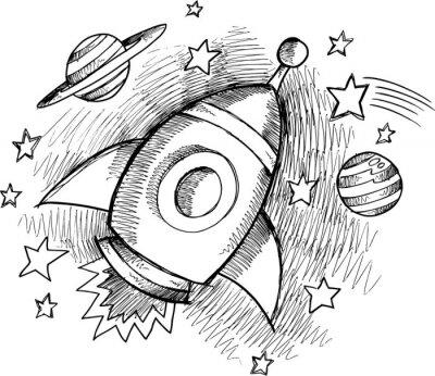 Fototapet Söt yttre rymden raket skiss Vector