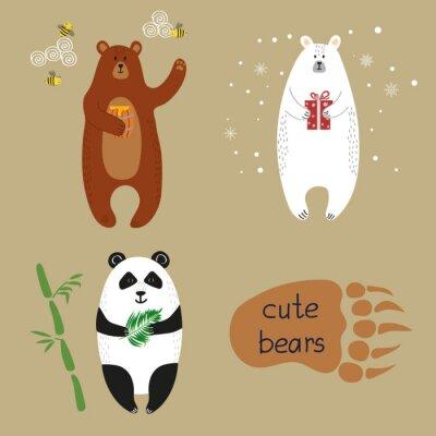 Fototapet Söta björnar inställd. Insamling av tecknad vektor illustrationer av brunbjörn, isbjörn och panda.
