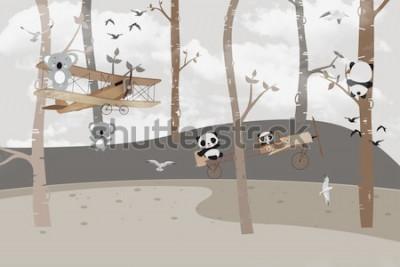 Fototapet Söta koalor och pandaer som spelar i djungeln