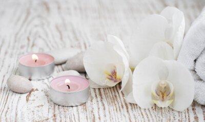 Fototapet Spa set med vita orkidéer