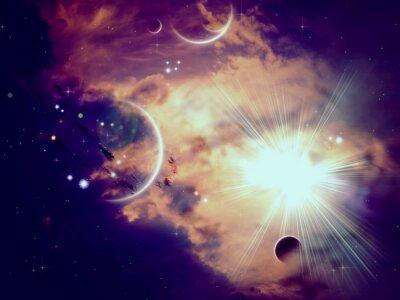 Fototapet Space moln och planeter
