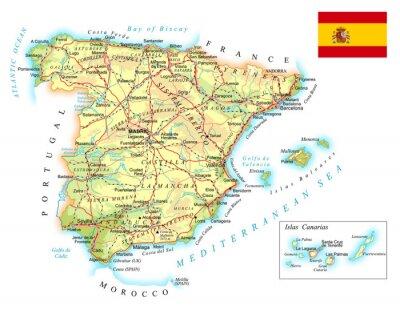 Karta Pa Spansk.Spanien Detaljerad Topografisk Karta Illustration Fototapet