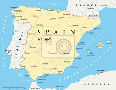 Karta Italien Spanien.Spanien Karta Fototapet Fototapeter Almeria Pamplona Bilbao