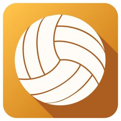 Fototapet Sport ikon med volleyboll bollen platt stil. Vektor