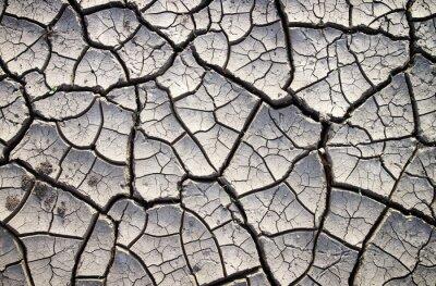 Fototapet Sprucken lera marken i den torra sommarsäsongen