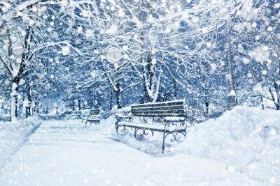 Fototapet Stad täckt med snö