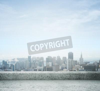 Fototapet staden från betongtak