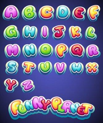 Fototapet Ställ tecknade färgade bokstäver för dekoration av olika namn