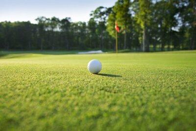 Fototapet Stäng av golfboll på green